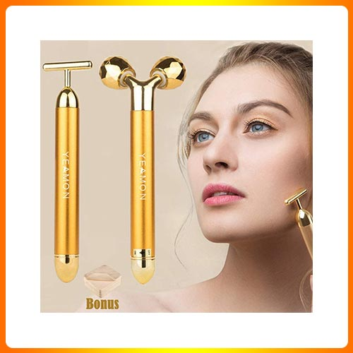 2-IN-1 Beauty Bar 24k Golden Pulse Facial Face Massager,Electric 3D Roller
