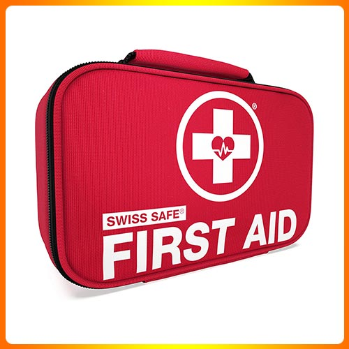 Swiss Safe 2-in-1 First Aid Kit (120 Piece) + Bonus 32-Piece Mini First Aid Kit