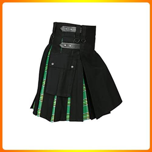 Men ' s Hybrid Utility Kilt Black & Irish Tartan