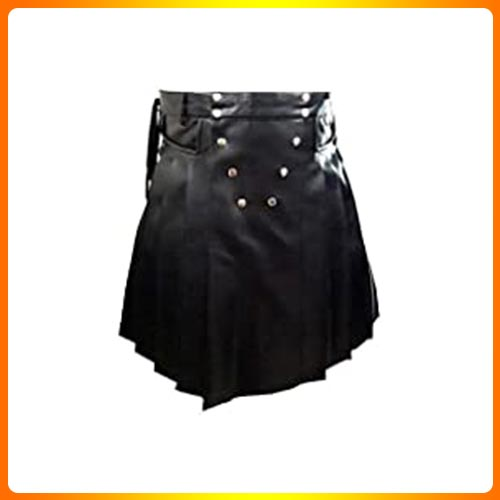Olly And Ally Mens Black Leather Gladiator Pleated Utility Kilt