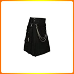 Scottish-Black-Fashion-Utility-Kilt-With-Silver-Chains