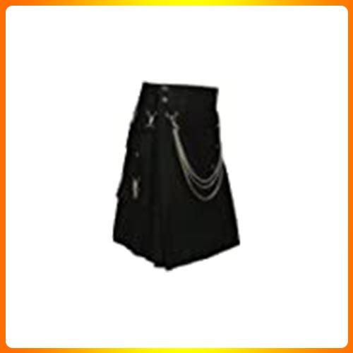 Scottish Black Fashion Utility Kilt With Silver Chains