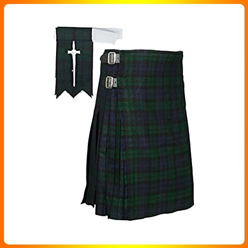 Scottish Black Watch Tartan Kilt FREE Flashes & Kilt Pin