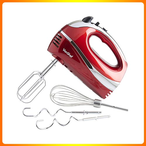 VonShef BLUE 250W Hand Mixer Whisk With Chrome Beater