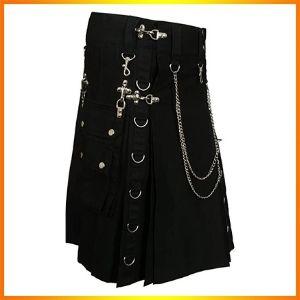 Black Fashion Gothic Kilt With Silver Chains