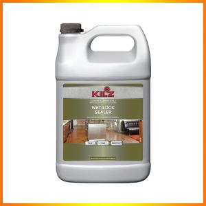 KILZ L390201 Interior/Exterior Concrete, Brick, and Tile Liquid Masonry Sealer, Wet Look (High-Gloss), Clear, 1-Gallon, 1 gal, 4 l